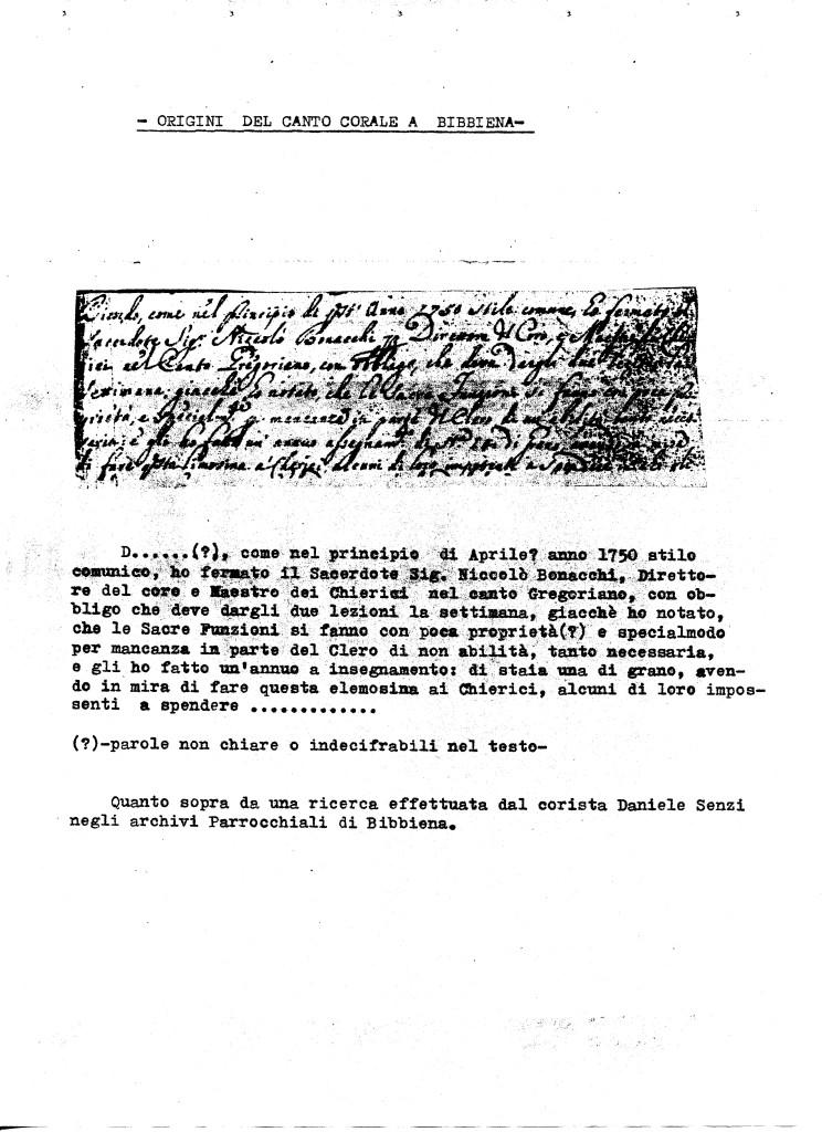 Manoscritto anno 1750 origini coro